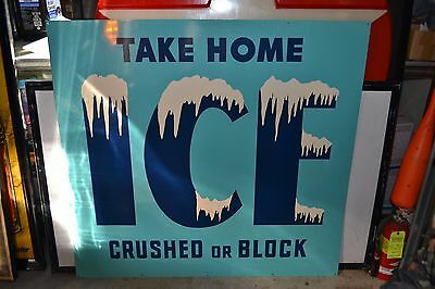 Vintage NOS Take Home Ice Metal Sign ~ Stout Sign Co., St. Louis, MO