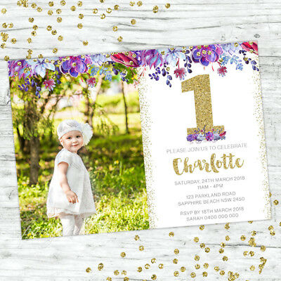 First Birthday Invitations Boho 1St Girl Party Personalised Invites