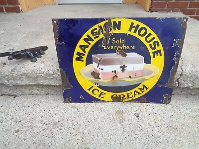 "Vintage ""mansion House"" One Sided Porcelain Advertising Sign Hard Brand To Find"