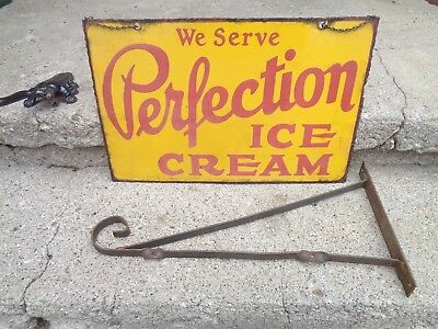 "Vintage ""perfection"" 2 Side Porcelain Advertising Sign W/hanging Bracket Scarce"