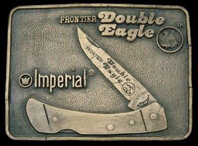LF08173  VINTAGE 1970s *IMPERIAL KNIVES* FRONTIER DOUBLE EAGLE #400 BUCKLE w/BOX