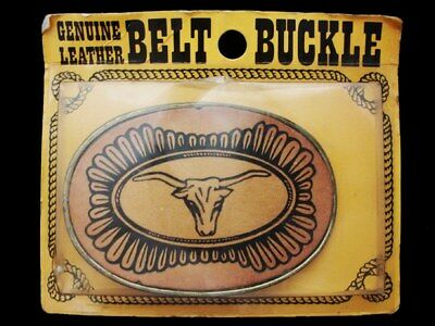 LC27161 *NOS* VINTAGE 1970s ***CATTLE HEAD*** GENUINE LEATHER WESTERN BUCKLE