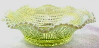 "Opalescent Vaseline Glass Bowl Ribbed Spiral Ruffled Edge Approx 7"" Antique"