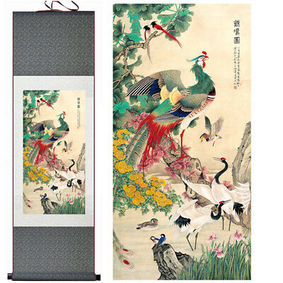 """Home decor Chinese silk scroll painting Flowers and birds Ink painting """"百鸟朝凤"""""""