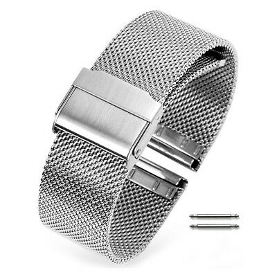 Bracelet Mesh Double Buckle Stainless Steel Metal Adjustable Watch Band Strap
