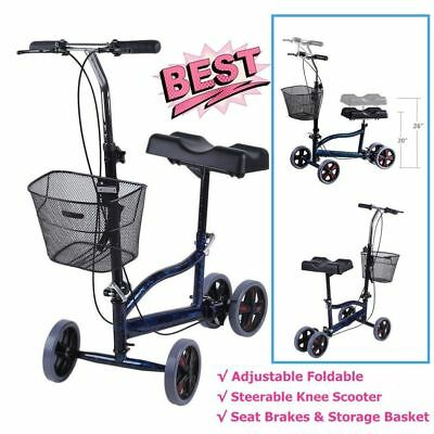 Foldable Steerable Medical Knee Walker Scooter Crutch Turning Brake Drive Cart K
