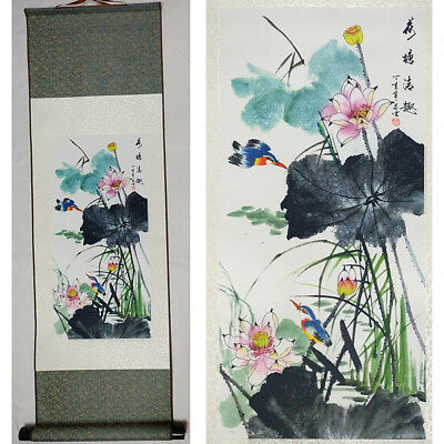 """Home decor Chinese silk scroll painting Pond funny painting """"荷塘情趣"""" decoration"""
