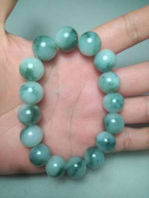 100% Natural Genuine Burmese Jadeite Jade Beaded Bracelet Genuine Grade A #82822