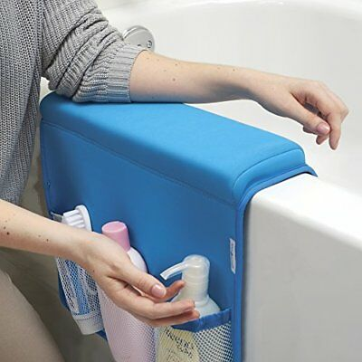 mDesign Baby and Toddler Bath Tub Elbow Rest with Bottle Holder - Blue