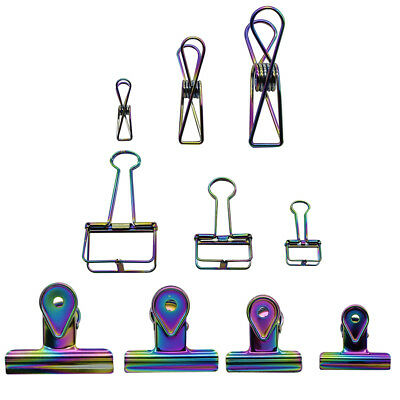 Colorful Gradient Metal Binder Clips Office Stationery Paper Documents Holder