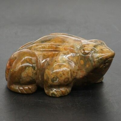 "2.6"" Natural Green Rainforest Jasper Carved Frog Gemstone Statue Home Decor #Q32"
