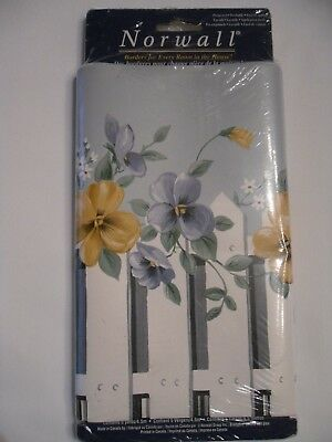 Norwall Blue Floral White Picket Fence Wallpaper Border 5 Yds X 9 NEW Pansies