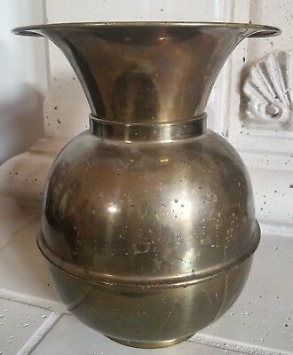 "Vintage Spitoon"" Solid Brass with Patina, 11 Inches Tall Made in USA Collectible"
