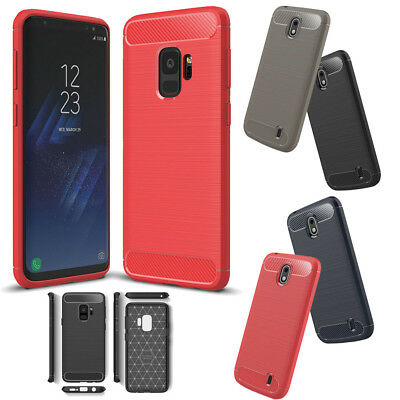 Luxury Carbon Fiber Soft TPU Silicone Rubber Thin Case Cover for Samsung S9/A8
