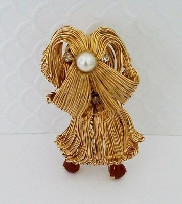 Vintage 60's Wire Worked Shaggy Dog Brooch Pin Rhinestones Gold Tone Figural