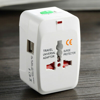 World Travel Universal Adapter Converter With Dual USB Charger IND/UK/US/EU Plug