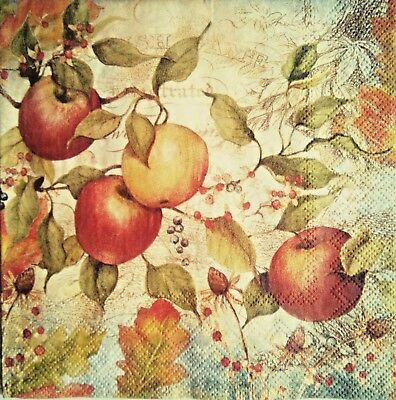 4x Apple Paper Napkins for Decoupage Decopatch.Servilletas de papel decoupage 4.