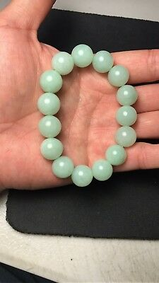 100% Natural Genuine Burmese Jadeite Jade Beaded Bracelet Genuine Grade A #93822