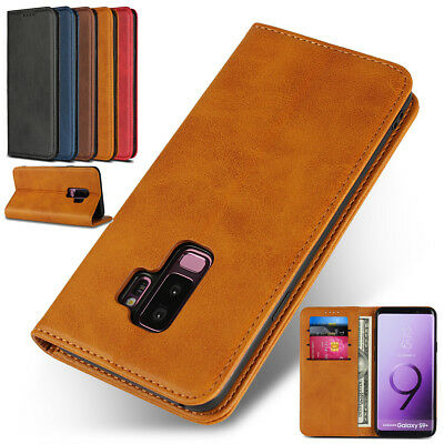 Luxury Genuine PU Leather Magnetic Flip Case Stand Cover For iPhone Samsung S9+