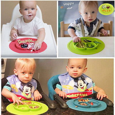 Cute Bowl Silicone Mat Baby Kids Child Suction Table Food Tray Placemat Plate AH