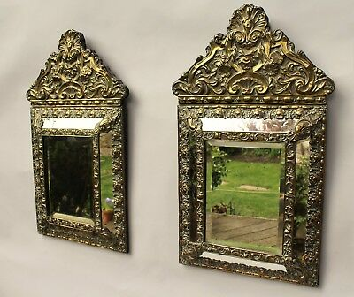 Good Pair of Repousse Brass Wall Mirrors 19th Century