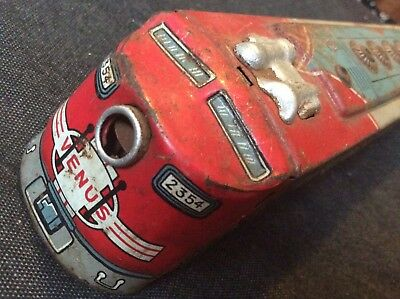 Vintage Tin Plate Santa Fe Railway Train Friction Toy - By San Japan 50/60s?