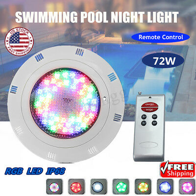 12V 72W 7 Color RGB LED Swimming Pool Light Lamp Underwater & Remote Control
