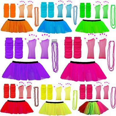 Neon 80s Tutu Set Skirt Leg Warmers Beads Hen Party Fancy Dress Costumes Dance