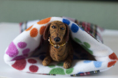 Needle Felted Mini Smooth Dachshund - Brindle - With Own Snuggle Bed