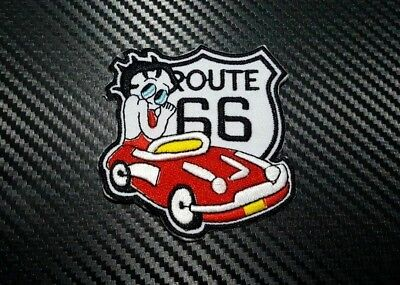 Embroidered Patch Iron Sew Logo BETTY BOOP CUTE SEXY Lady Rider CARTOON ROUTE 66