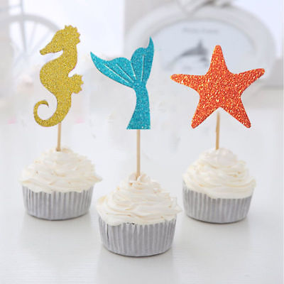 35pcs Cupcake Toppers Glitter Mermaid Party Decor Party Favors for Kids Birthday