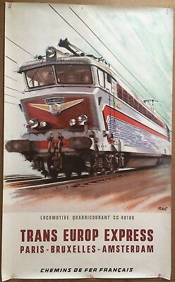 Affiche ancienne SNCF Trans Europ Express BRENET Chemin de Fer Train Locomotive