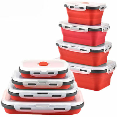 Silicone Collapsible Lunch Box Portable Folding Food Storage Container With Lids