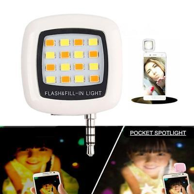 16 LED Camera Selfie Fill Flash Light 3.5mm For Android IOS iPhone 5s 6 White FA