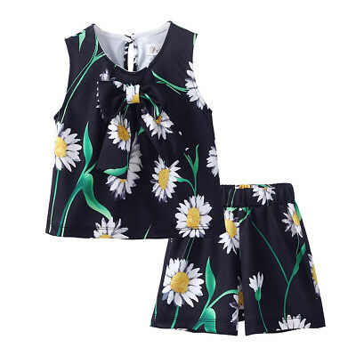 Girls Top + Shorts Set Sleeveles Flower Print Kids Summer Outfit Casual Clothes