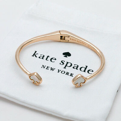 Kate Spade New York mother of pearl logo Open hinged Cuff Bracelet new