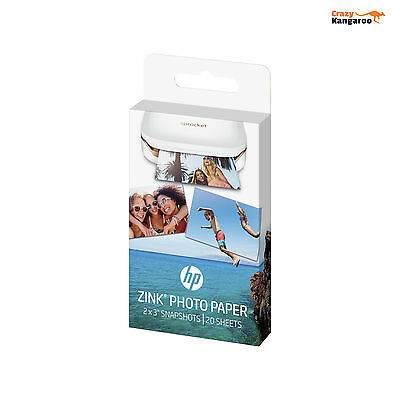 """HP ZINK Sticky Backed 20 Sheets Photo Paper 2"""" x 3"""" for HP Sprocket Mini Printer"""