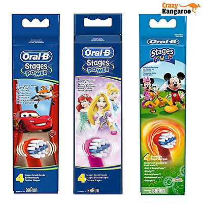 Oral-B Stages Power Kids Replacement 4 Disney Brush Heads *Choose your design*