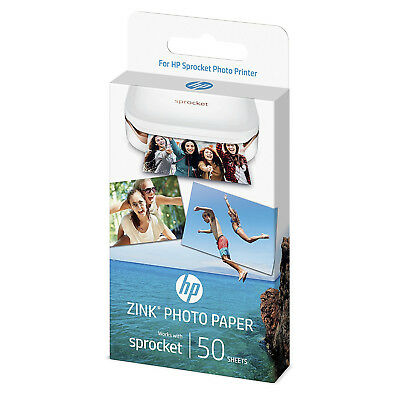"HP ZINK Sticky Backed 50 Sheets Photo Paper 2"" x 3"" for HP Sprocket Mini Printer"