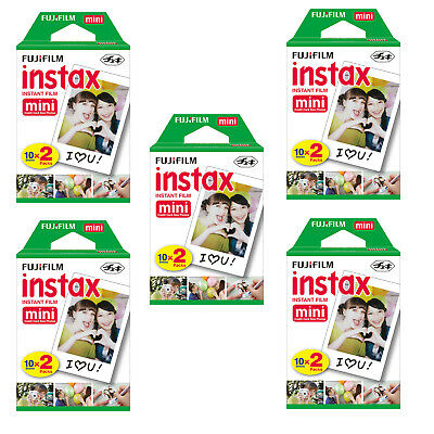 Fujifilm Polaroid Instant Camera Photos Instax Mini Film - 5 Packs (100 Shots)