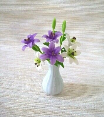 White & Purple Lily Clay Flower In Vase Ceramic Miniatures Handcrafted Room Item
