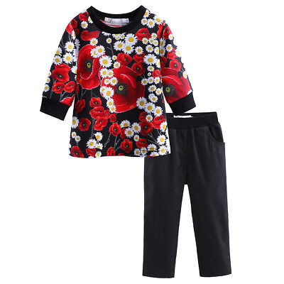 Girls Clothes Set Daisy Poppy Flower Sweater Top + Trousers Pants Kids Outfit