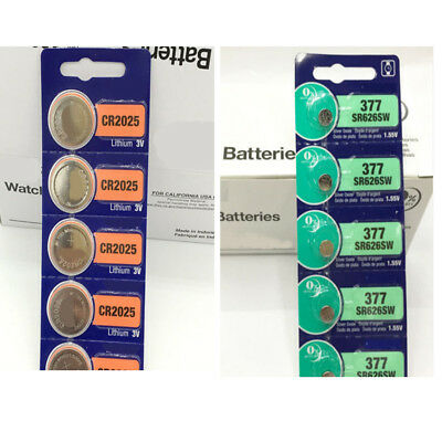 5pcs Battery Button Coin Cell 3V CR2025 CR2032 377 Watches Camera Batteries New