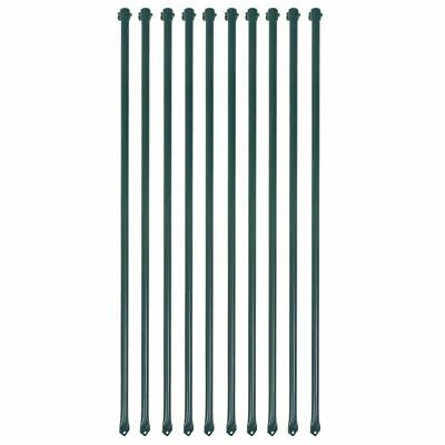 vidaXL 10x Garden Posts 1 m Metal Green Fencing Plant Supports Spikes Stakes