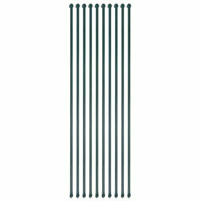 vidaXL 10x Garden Posts 1.5 m Metal Green Fencing Plant Supports Spikes Stakes