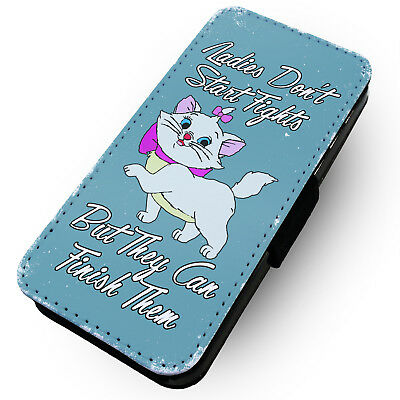 Ladies Don't Start Fights - Blue - Printed Faux Leather Flip Phone Case #2
