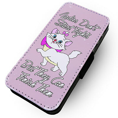 Ladies Don't Start Fights - Pink - Printed Faux Leather Flip Phone Case #2
