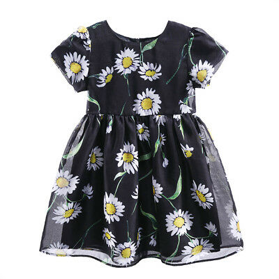 Girls Short Sleeve Daisy Floral Dress Kids Summer Holiday Party Casual Dresses