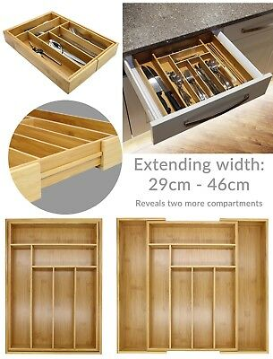 Bamboo Extending Cutlery Tray / Drawer / Organiser / Expandable / Adjustable #E2
