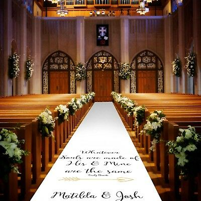 Personalised WEDDING AISLE RUNNER. Church/Venue Carpet Decoration. 20ft - 60ft